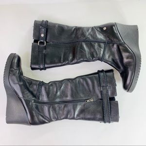 Ugg Tall Wedge Black Leather Winter Boot Size 10